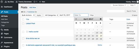 date format javascript filter filter posts in wordpress admin area by a date range