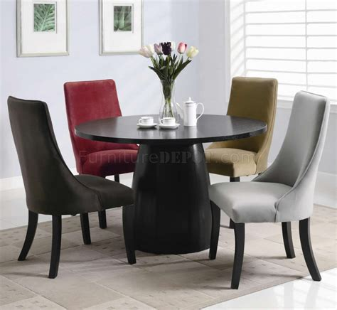black satin finish modern 5pc dining set w optional color