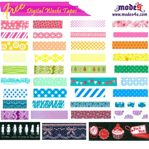 washi tape designs free digital washi tape from modes4u modes blog
