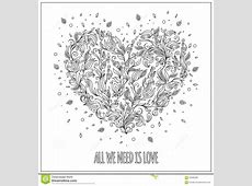 Coloring Page Flower Heart St Valentine's Day Greeting ... Tribal Print Pattern Black And White