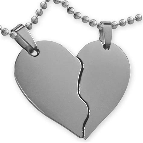 cadenas de plata corazones partidos colgante coraz 243 n partido grabado con los nombres de los