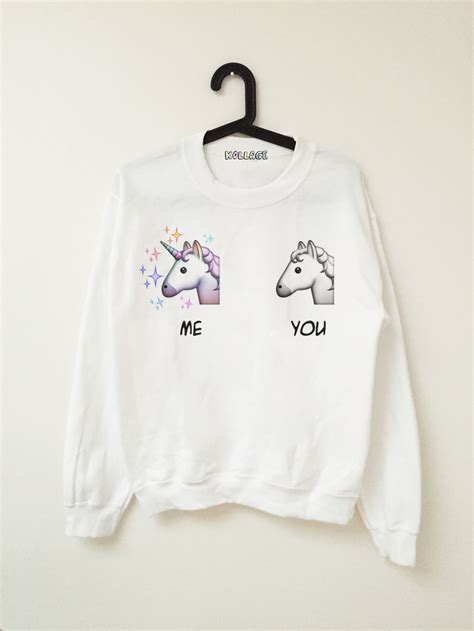 Jny Co Sweater Hodie Unicorn me vs u emoji unicorn sweatshirts join my closet fashion