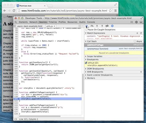 tutorial jquery promise jquery debugging asynchronous javascript with chrome