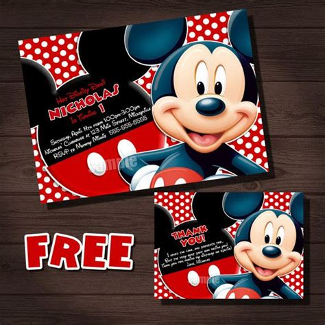 free mickey mouse thank you card template mickey mouse birthday invitation free mickey mouse thank