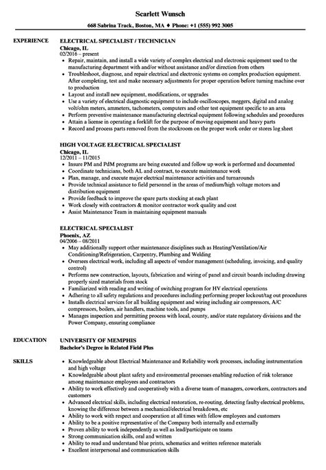 Electrical Resume by Electrical Specialist Resume Sles Velvet