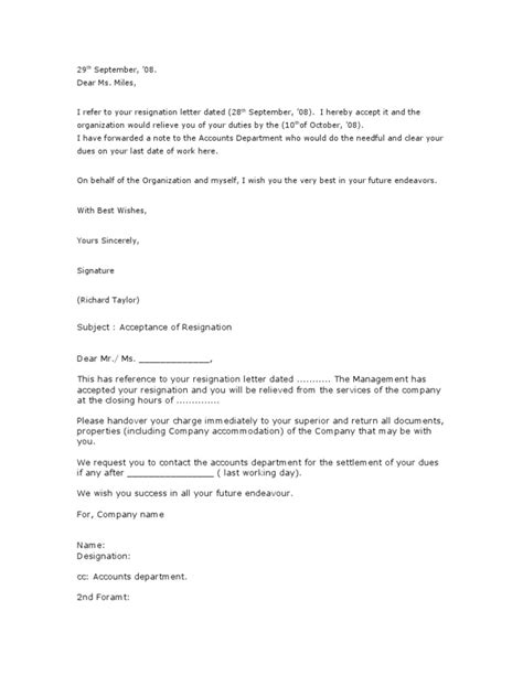 Acceptance Letter Of Resignation By Employer by 23 Resignation Acceptance Letter Employment Business