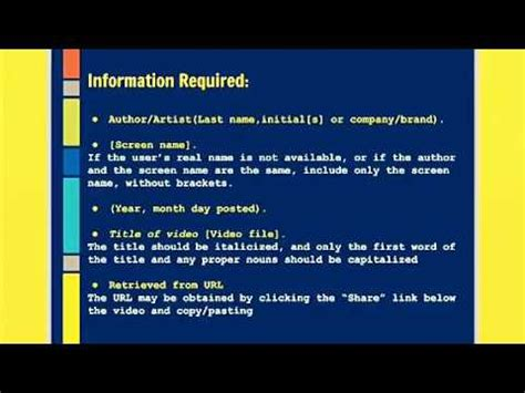 apa style format youtube video how to cite youtube videos in apa format youtube