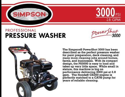 powershot ps simpson pressure washer parts breakdown owners manual
