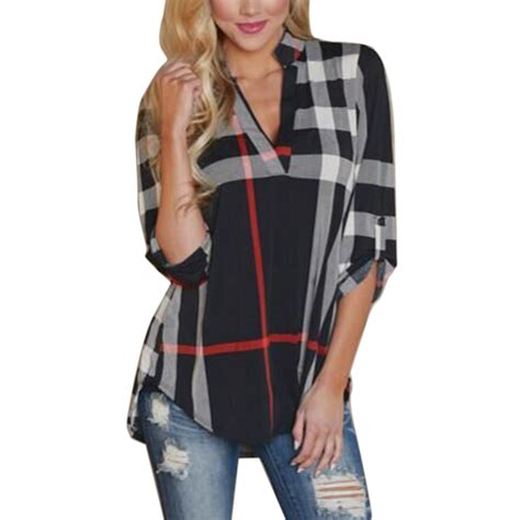isassy womens plaid plus v neck shirt autumn top blouse