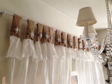 White Burlap Curtains Burlap And White Linen Curtains With Jewelry By Rusticchictogether