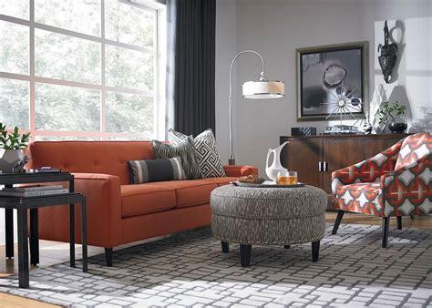 one sofa living room burnt orange light gray for tv room home sweet home