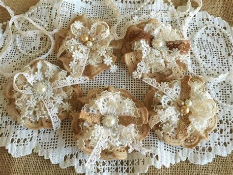 Handmade Lace Flowers - shabby wedding 5 shabby chic lace handmade flowers