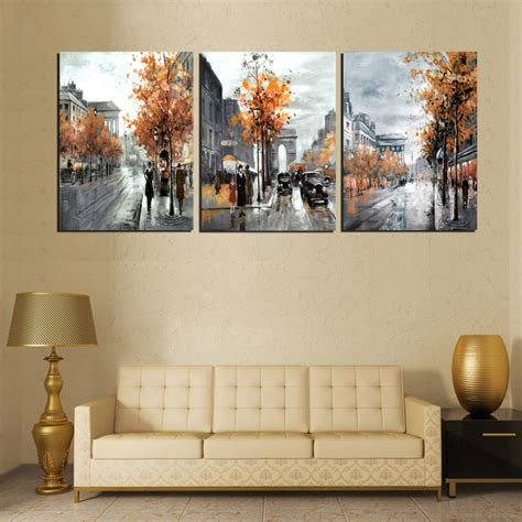 Decorative Paintings For Living Room by 3 Panel Painting Calligraphy Vintage Abstract City