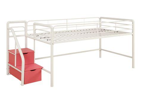 Dhp Junior Loft Bed W Step Storage White W Pink Steps Junior Loft Bed With Storage Steps