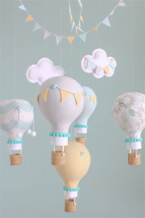 Gender Neutral Baby Mobile Grey Aqua And Yellow Hot Air Air Balloons Nursery Decor