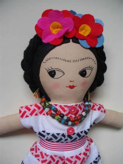 Handmade Plush Dolls - frida kahlo doll handmade ragdoll ooak doll mexican