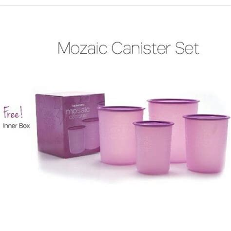 Tupperware Mosaic Canister Ungu tupperware mosaic canister set s fashion on carousell