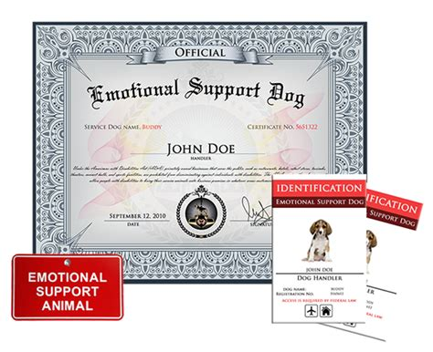 emotional support animal id card template emotional support basic kit 187 us registry