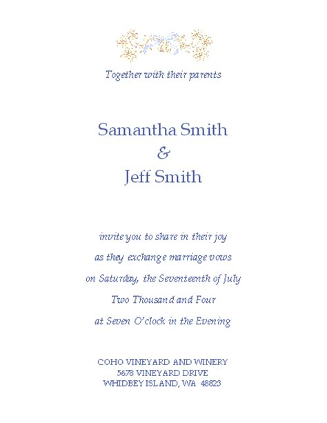 wedding invitation templates word free wedding invitation templates microsoft word