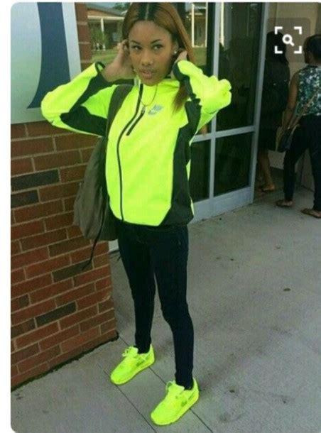 colorful nike windbreaker shoes neon yellow nike sneakers yellow nike jacket