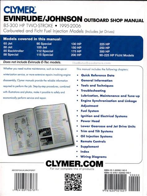 outboard motor repair evinrude evinrude johnson 85 300 hp 2 stroke repair manual 1995 2006