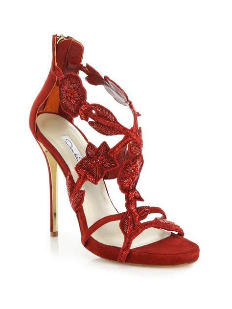 oscar de la renta slippers oscar de la renta tatum embellished suede sandals in