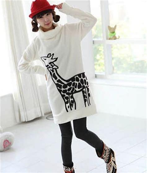 Sweater Giraffes White Putih 1 kawaii giraffe pullover with polo neck white japan
