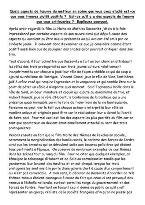 La Haine Essay by A2 La Haine A2 Model Essay Points Positifs Et Aspects Qu On Pourrait Critiquer