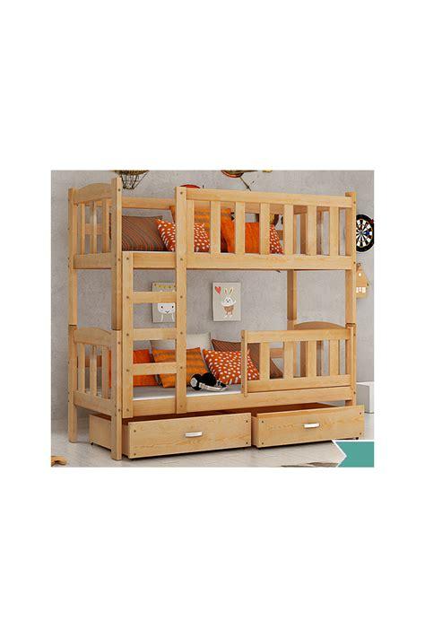 cama litera de madera cama litera de madera maciza bambi con colchones y cajones