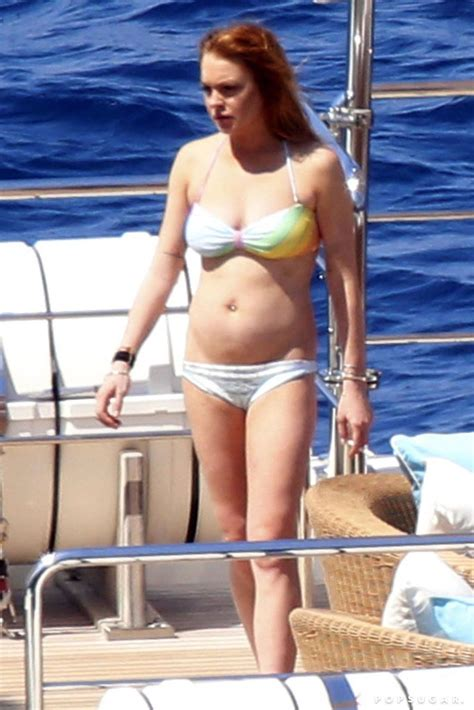 Get The Look Lindsay Lohans Bahama Bikinis by Lindsay Lohan In A On A Yacht In Italy Pictures