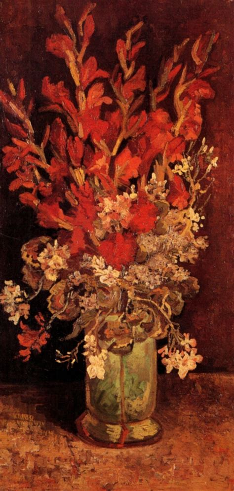 Vase With Flowers Gogh by Vase With Gladioli And Carnations 1886 Vincent Gogh