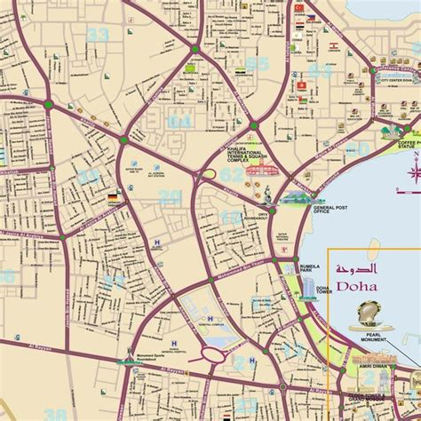 printable doha road map doha detailed city map mappery