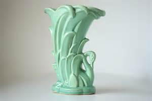 vintage mccoy pottery aqua swan vase by allkindsofbeautiful