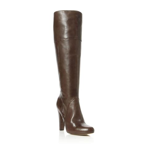 dune sevenoaks womens brown leather zip knee high