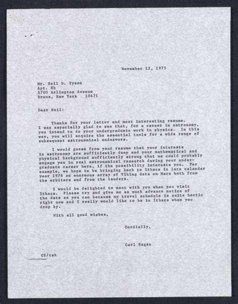 1975 letter from carl sagan to high student neil