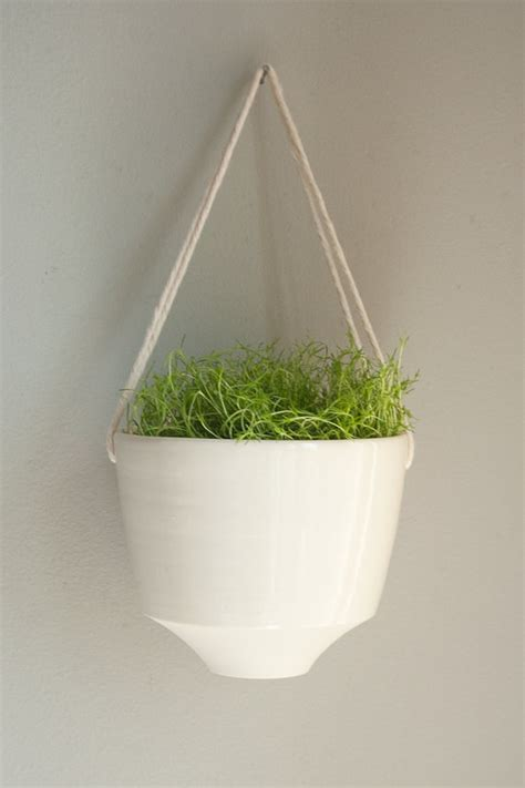 Rope Hanging Planter - angled porcelain and cotton rope hanging planter by