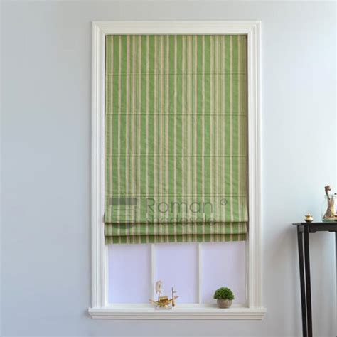 white patterned roman shades decorative green white stripe pattern canvas roman shade