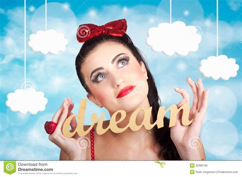 design a dream girl inspire to create pinup your dreams to the sky stock