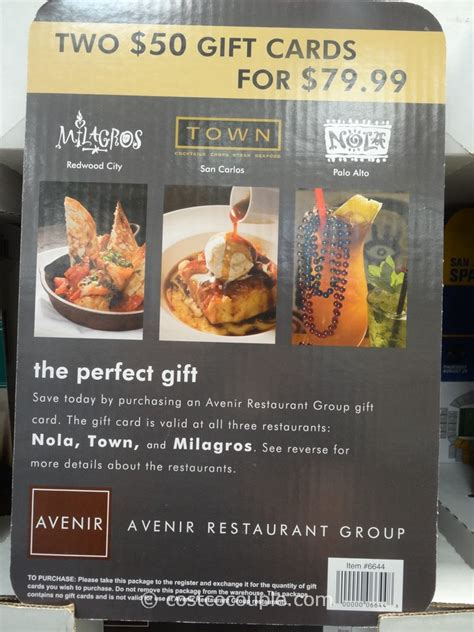 avenir restaurant group nola town milagros discount gift card - Costco Restaurant Gift Cards