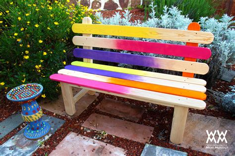 colorful bench popsicle stick bench colorful diy project for your garden