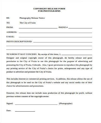 photographer release form samples 7+ free documents in