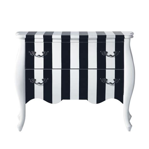 Black And White Drawers by Wooden Striped Chest Of Drawers In Black And White W 100cm