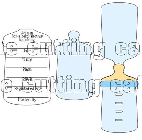 Baby Bottle Template Card by The Cutting Cafe Baby Bottle Shaped Card 2 Invite Set