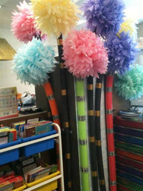 How To Make Lorax Trees Out Of Tissue Paper - truffula trees pool noodles and tissue paper on
