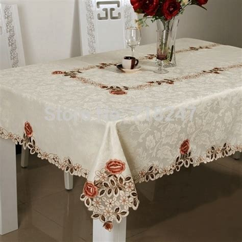 new satin polyester embroidery tablecloth