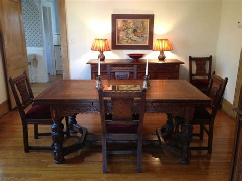 The Dining Room Chair Company Vintage 1930s Jamestown Furniture Company Feudal Oak Dining Room Set Oak Dining Room Set Oak