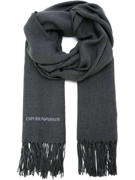 emporio armani fringed scarf in gray for grey lyst