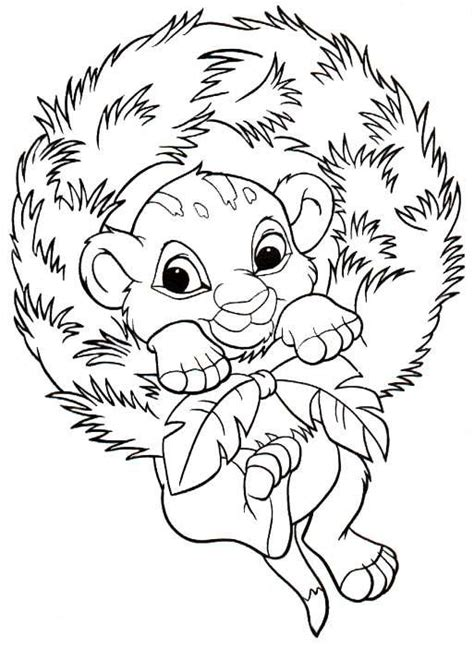 christmas lion coloring pages coloriage a imprimer noel disney simba gratuit et colorier