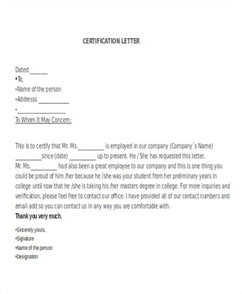 certification letter for business certificate letter template 12 free sle exle