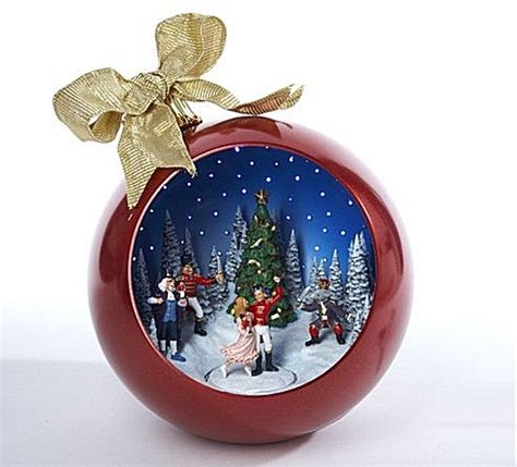 christmas ornament that plays music fiber optic ornaments animated musical nutcracker ballet